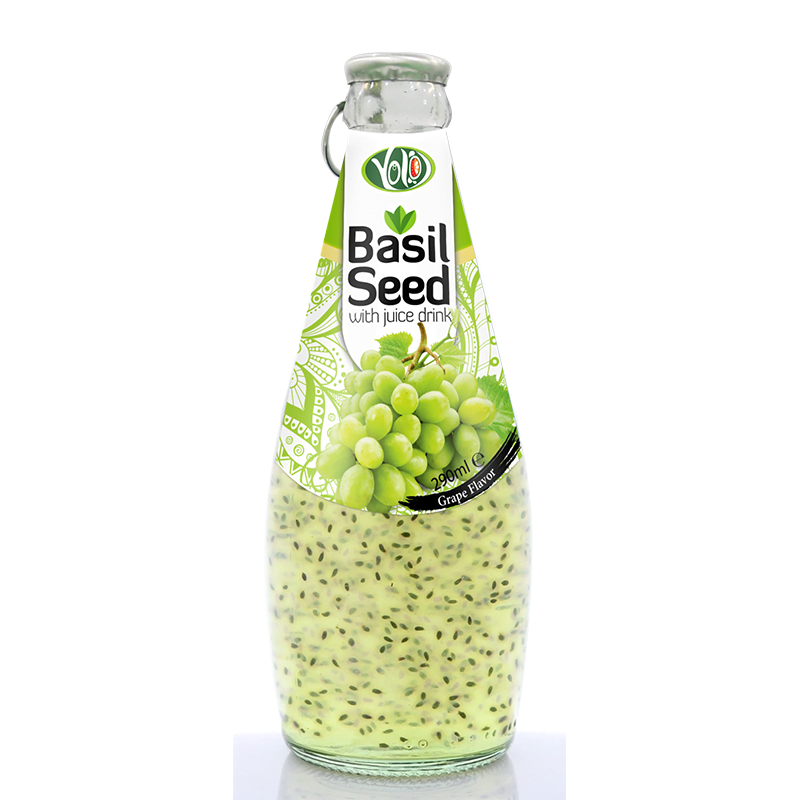 290ml glass bottle basil seed drink with grape flavor