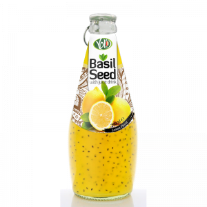290ml glass bottle basil seed drink with lemon flavor