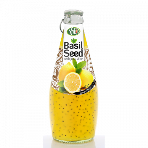 290ml glass bottle basil seed drink with lemon flavor