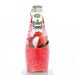 290ml glass bottle basil seed drink with lychee