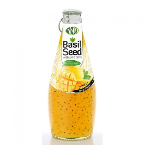 290ml glass bottle basil seed drink with mango juice