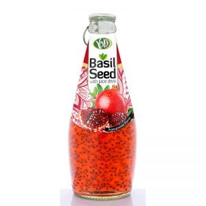 290ml glass bottle basil seed drink with pomegranate