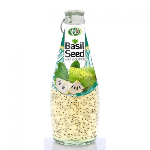 290ml glass bottle basil seed drink with soursop