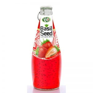 290ml glass bottle basil seed drink with strawberry