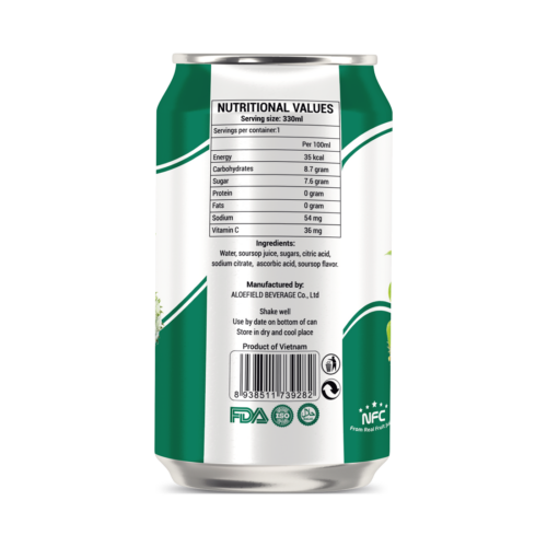 Not From Concentrate 330ml canned fresh soursop fruit juice