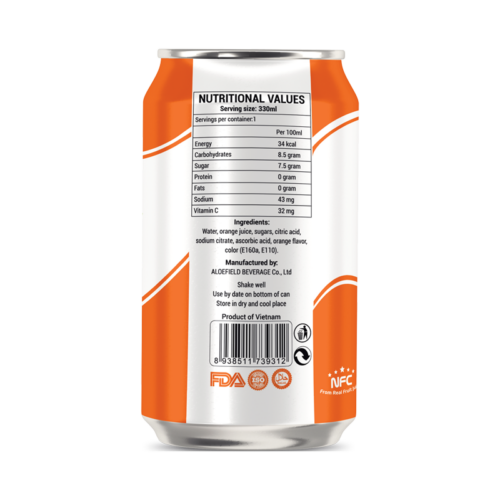 Not From Concentrate 330ml canned fresh fruit orange juice